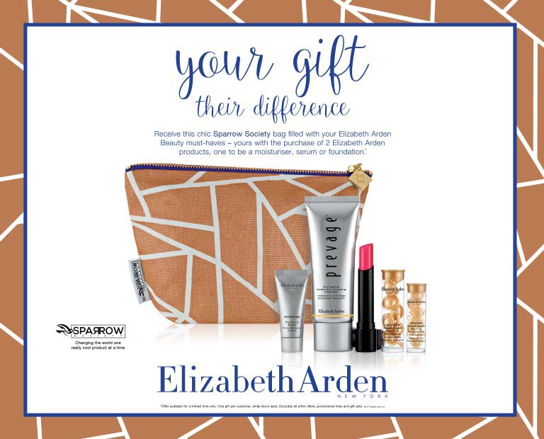 Your Gift Their Difference. Receive this chic Sparrow Society bag filled with your Elizabeth Ardren Beauty must-haves -- yours with the purchase of 2 Elizabeth Arden products, one to be a moisturiser, serum or foundation.* 15th April 2018 - 6th May 2018. Elizabeth Arden