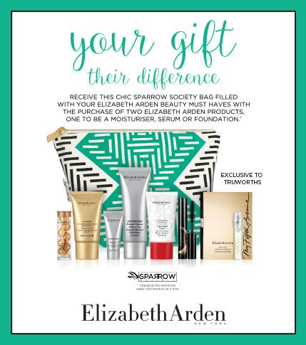 RECEIVE THIS CHIC SPARROW SOCIETY BAG FILLED WITH YUR ELIZABETH ARDEN BEAUTY MUST HAVES WITH THE PURCHASE OF 2 ELIZABETH ARDEN PRODUCTS, ONE TO BE A MOISTURISER, SERUM OR A FOUNDATION