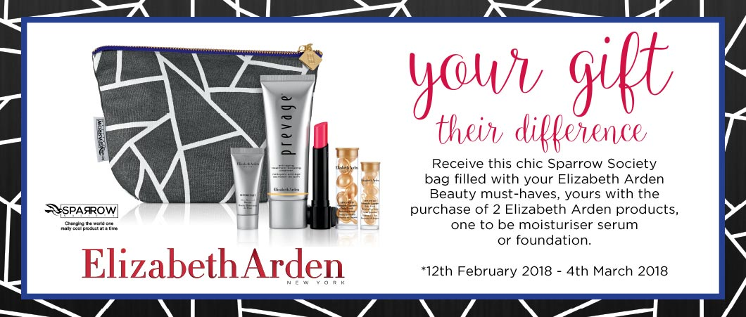 Your Gift Their Difference. Receive this chic Sparrow Society bag filled with your Elizabeth Ardren Beauty must-haves -- yours with the purchase of 2 Elizabeth Arden products, one to be a moisturiser, serum or foundation.* 12th February 2018 - 4th March 2018. Elizabeth Arden